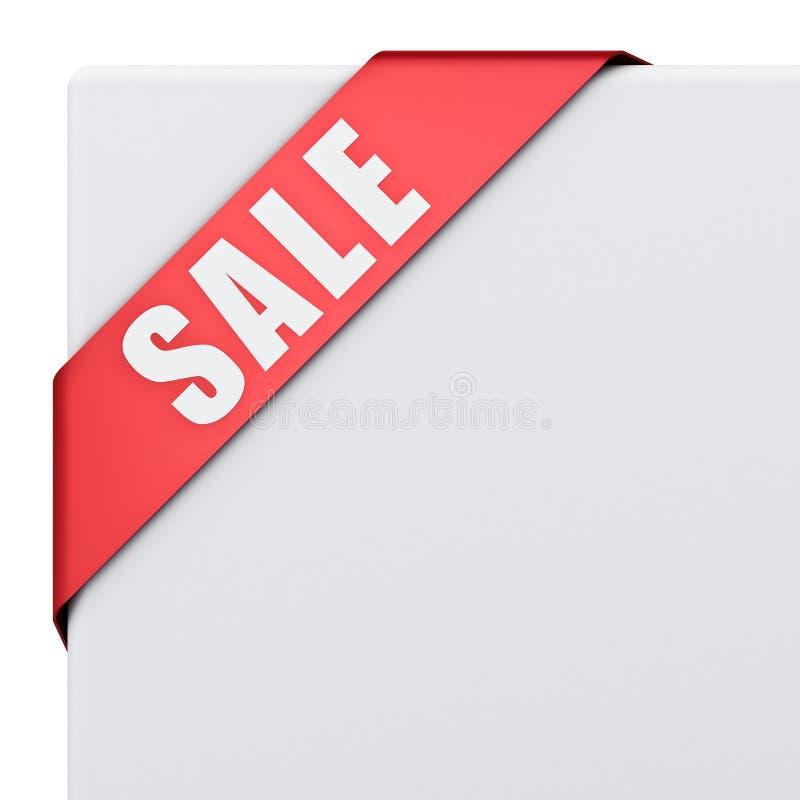 Bandera de la esquina de la cinta de la venta aislada en el fondo blanco ilustración del vector
