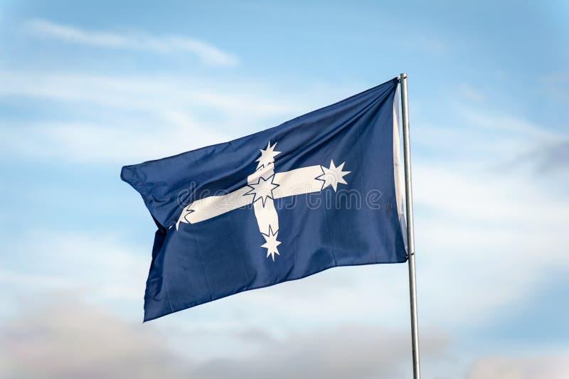 Bandera de la estacada de Eureka en viento fotografía de archivo libre de regalías