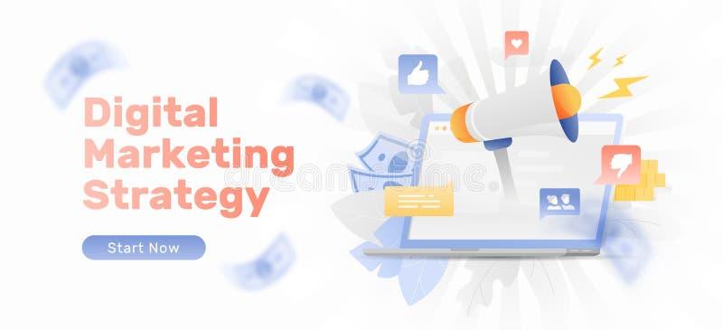 Bandera de la estrategia de marketing de Digitaces stock de ilustración