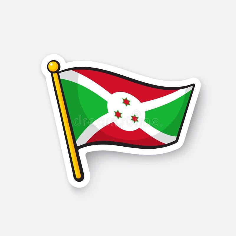 Bandera de la etiqueta engomada de Burundi
