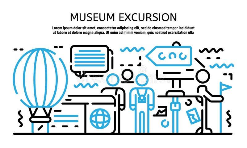 Bandera de la excursión del museo, estilo del esquema ilustración del vector