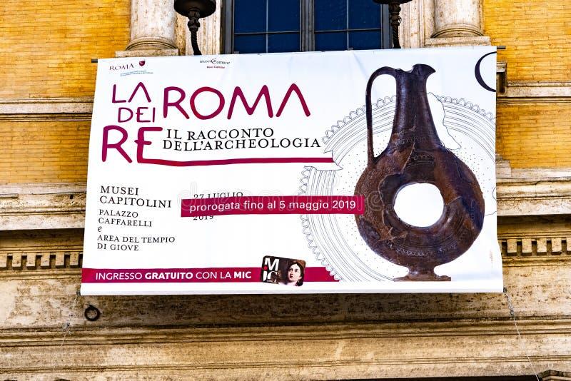 Bandera de la exposición del museo en Roma, Italia fotos de archivo libres de regalías