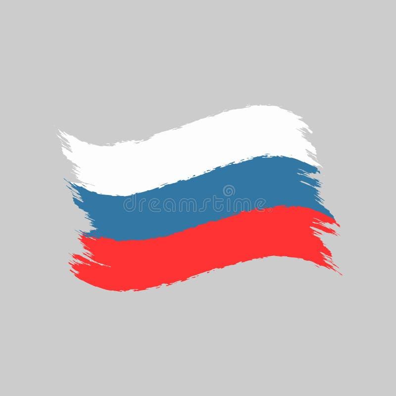 Bandera de la Federación Rusa pintada con el cepillo de la acuarela Símbolo aislado de Rusia libre illustration