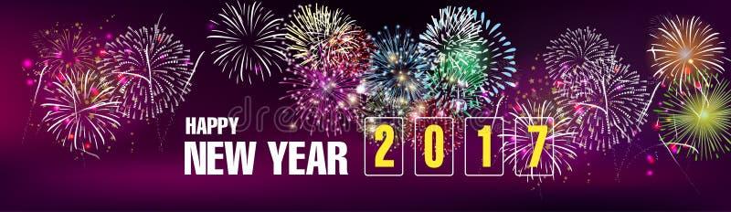 Bandera 2017 de la Feliz Año Nuevo ilustración del vector