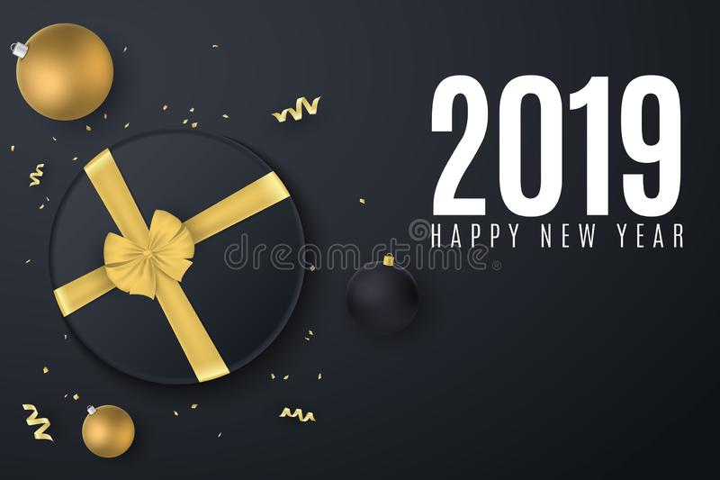 Bandera 2019 de la Feliz Año Nuevo Caja de regalo negra con una cinta del oro Bolas de la Navidad Confeti con la serpentina Jugue libre illustration
