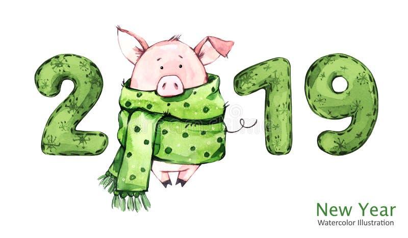 Bandera de la Feliz Año Nuevo 2019 Cerdo lindo en bufanda del invierno con números Ilustración de la acuarela Símbolo de vacacion stock de ilustración