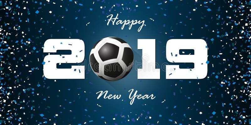 Bandera 2019 de la Feliz Año Nuevo con el confeti de papel en fondo azul Plantilla del diseño de la bandera para la decoración de stock de ilustración