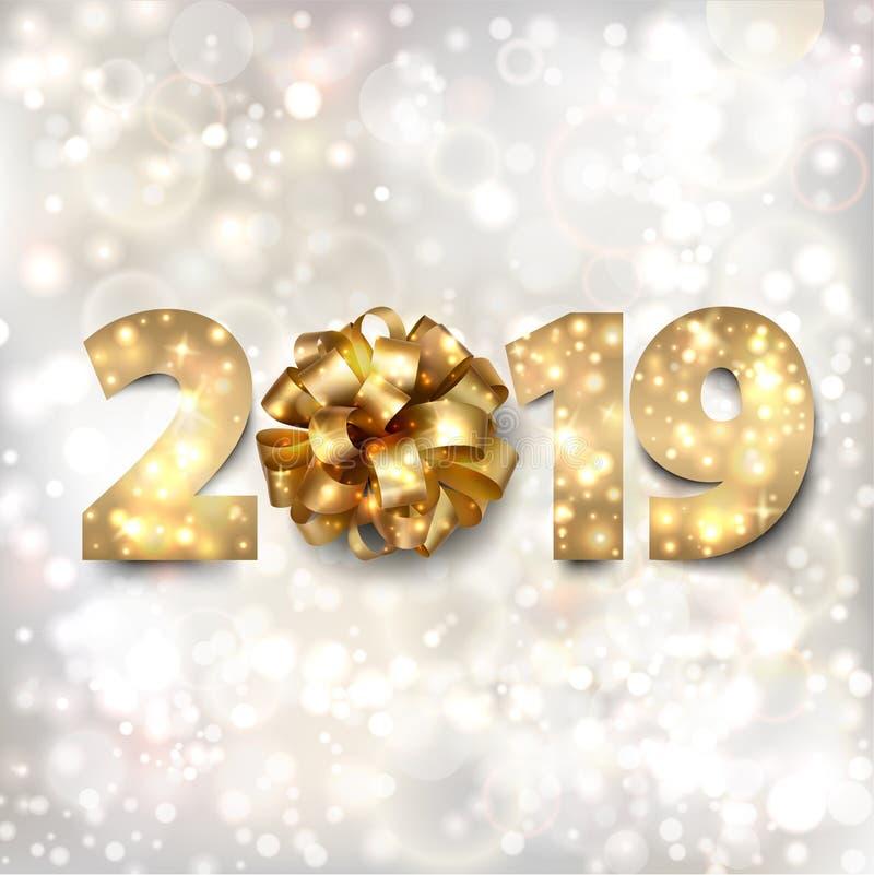 Bandera de la Feliz Año Nuevo con números del oro 2019 y un arco en un fondo de plata con las estrellas y las luces twinkly libre illustration