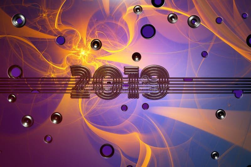 Bandera de la Feliz Año Nuevo con 2019 números hechos por el metal cubierto por aerografía sobre el fondo colorido de la pared ll libre illustration