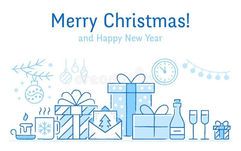 Bandera de la Feliz Navidad con la línea plana iconos Tarjeta de felicitación del Año Nuevo - árbol de pino, presentes, cajas de  ilustración del vector