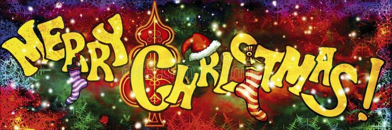 Bandera de la Feliz Navidad con las luces stock de ilustración