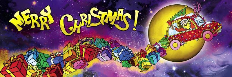 Bandera de la Feliz Navidad con volar Santa Claus Driver y el MES libre illustration
