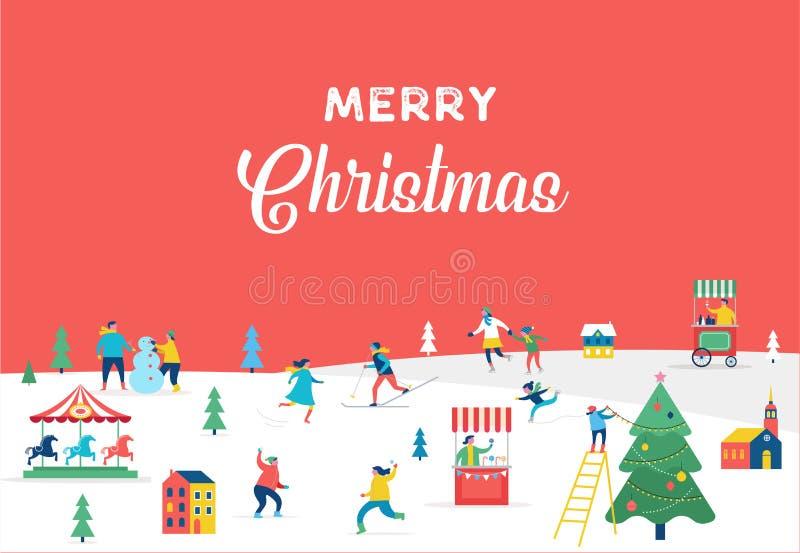 Bandera de la Feliz Navidad, fondo y tarjeta de felicitación del minimalist stock de ilustración