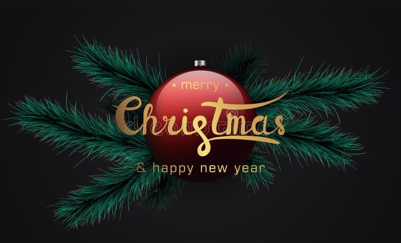 Bandera de la Feliz Navidad y de la Feliz Año Nuevo ilustración del vector