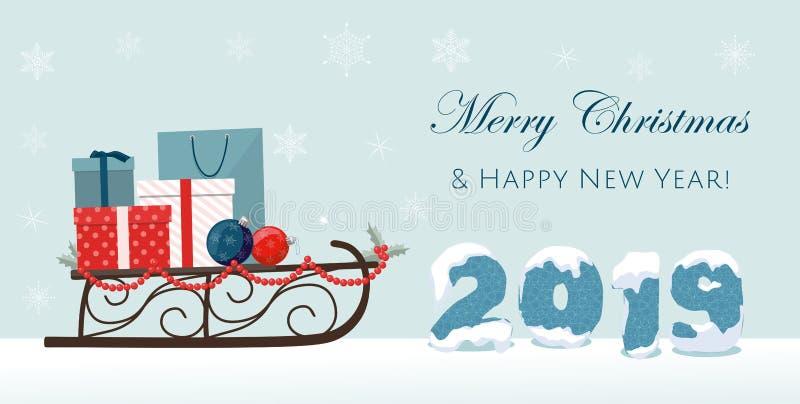 Bandera 2019 de la Feliz Navidad y del Año Nuevo con el trineo, las cajas de regalo y la bola Número azul del año libre illustration