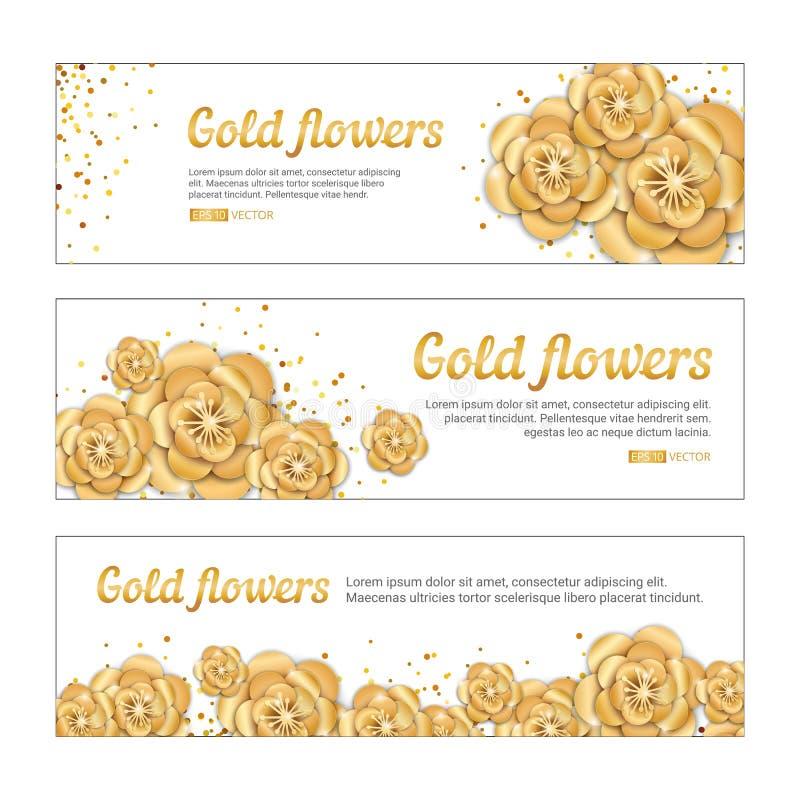 Bandera de la flor de loto del oro libre illustration