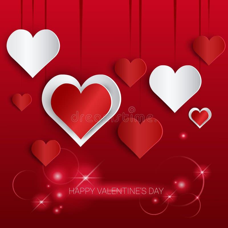 Bandera de la forma del corazón del amor de Valentine Day Gift Card Holiday con el espacio de la copia stock de ilustración