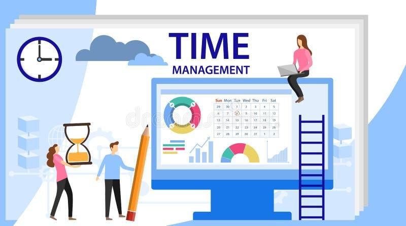 Bandera de la gestión de tiempo con el carácter Concepto aislado o planificador del horario Etiqueta engomada del planeamiento, i stock de ilustración