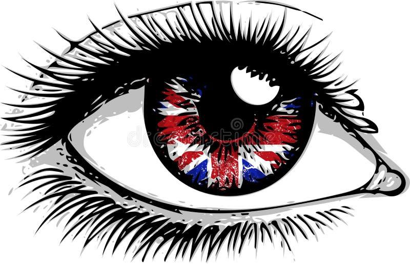 Bandera de la Gran Bretaña en varón hermoso u ojo femenino Mujer sorprendida atractiva con la boca abierta Vector colorido stock de ilustración