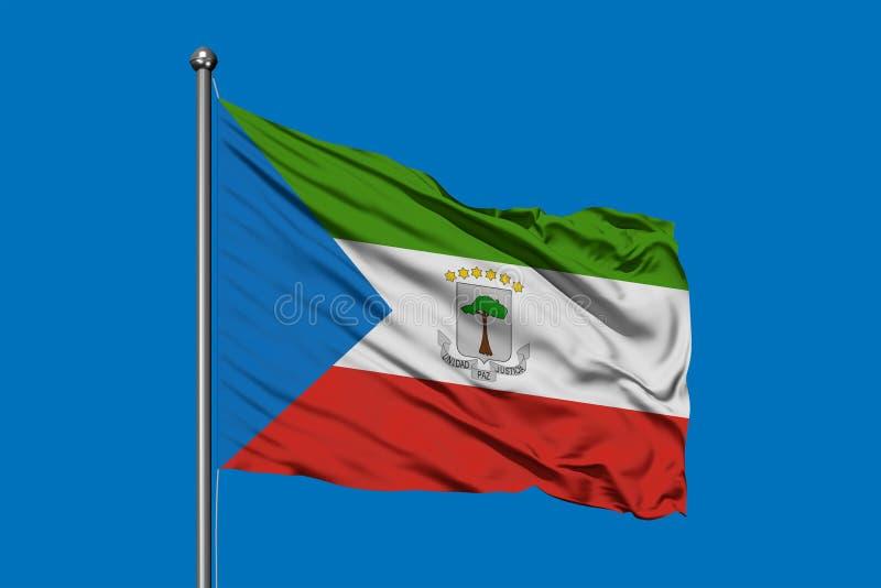 Bandera de la Guinea Ecuatorial que agita en el viento contra el cielo azul profundo libre illustration