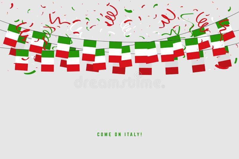 Bandera de la guirnalda de Italia con confeti en el fondo gris, empavesado de la caída para la bandera de la plantilla de la cele ilustración del vector