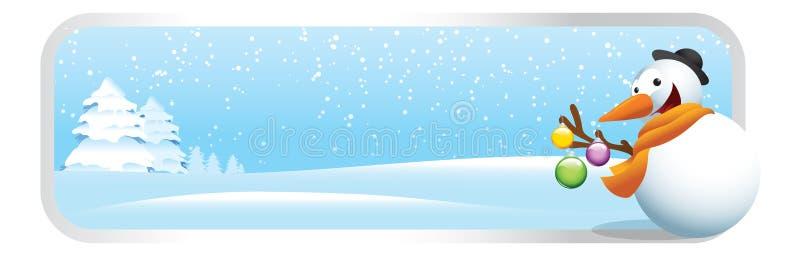 Bandera de la historieta de la Navidad del muñeco de nieve stock de ilustración