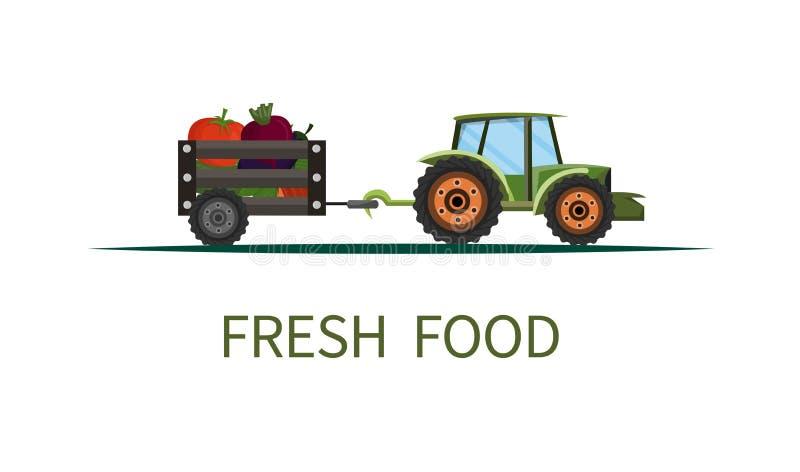 Bandera de la historieta que pone letras a la comida fresca en tractor stock de ilustración