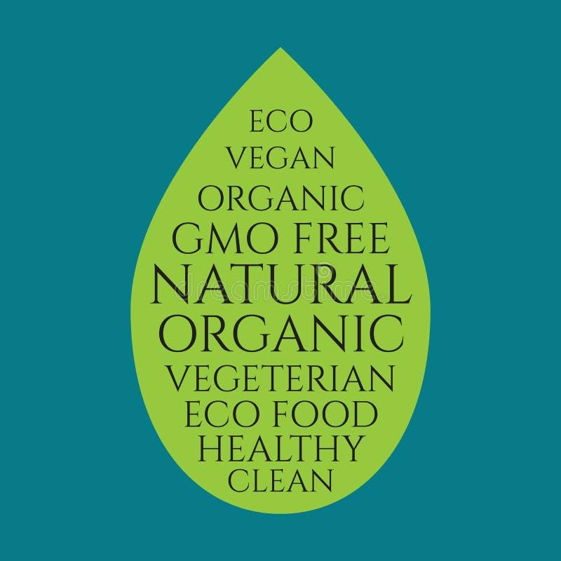 Bandera de la hoja del alimento biológico stock de ilustración