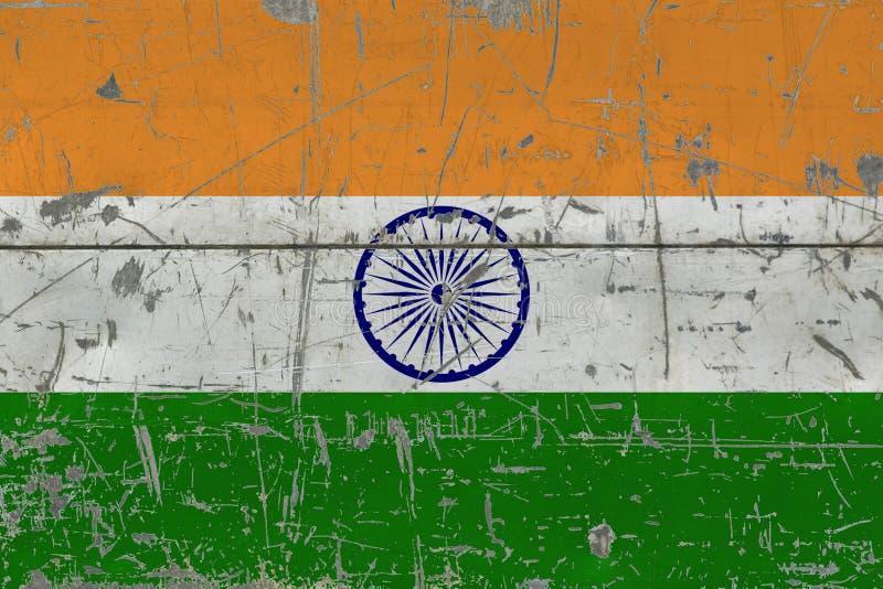 Bandera de la India del Grunge en vieja superficie de madera rasguñada Fondo nacional del vintage libre illustration