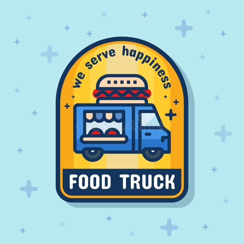 Bandera de la insignia del servicio del camión de la comida ilustración del vector
