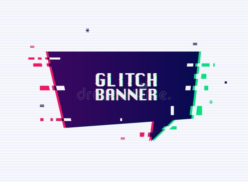 Bandera de la interferencia del vector con placeholder del texto Bandera de la promoción del estilo de la interferencia, precio,  libre illustration