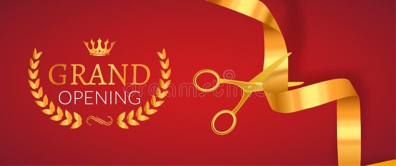 Bandera de la invitación de la gran inauguración Evento de oro de la ceremonia del corte de la cinta Tarjeta de la celebración de stock de ilustración