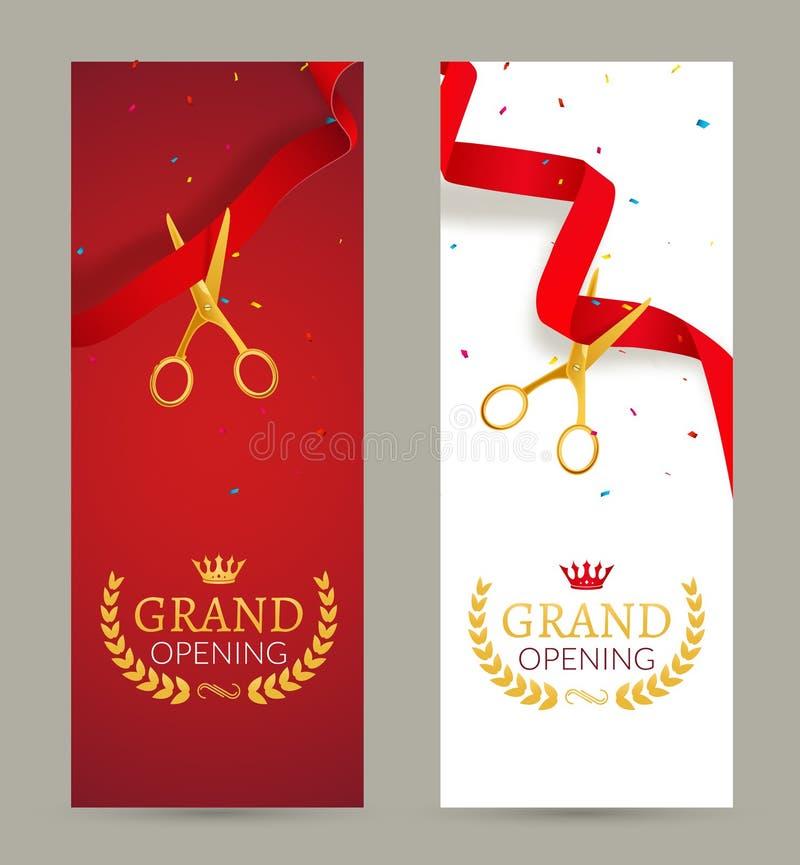Bandera de la invitación de la gran inauguración Evento rojo de la ceremonia del corte de la cinta Tarjeta de la celebración de l stock de ilustración