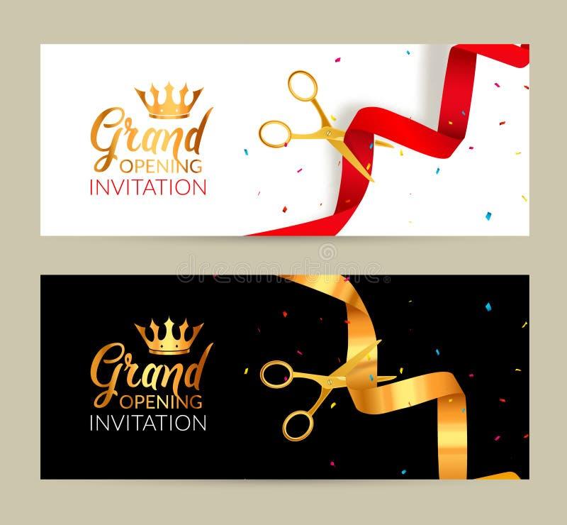 Bandera de la invitación de la gran inauguración La cinta de oro y la cinta roja cortaron evento de la ceremonia Tarjeta de la ce ilustración del vector