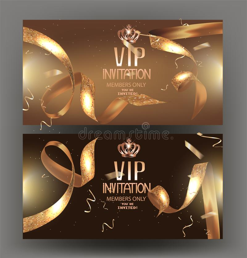 Bandera de la invitación del VIP con las cintas de oro rizadas con el modelo y el marco del círculo stock de ilustración