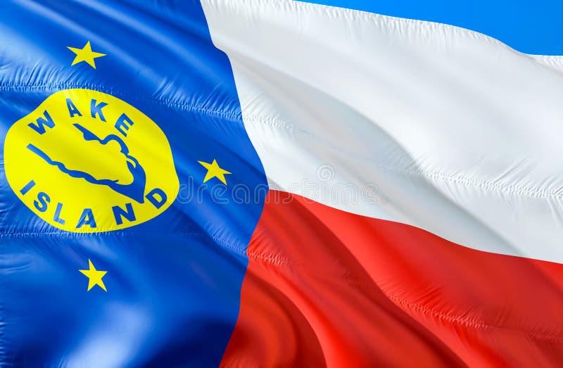 Bandera de la isla Wake E El símbolo nacional de los E.E.U.U. del estado de isla Wake, representación 3D Colores nacionales y fotos de archivo