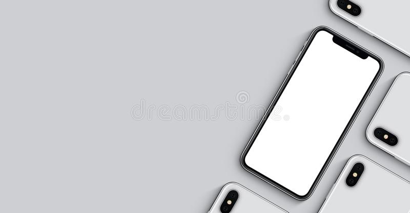 Bandera de la maqueta de los smartphones con el espacio de la copia en fondo gris imágenes de archivo libres de regalías