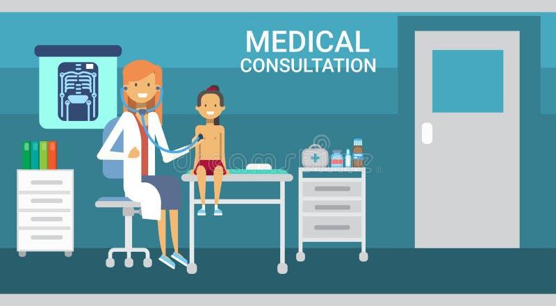 Bandera de la medicina del servicio del hospital de las clínicas de la atención sanitaria de la consulta del doctor Examining Pat ilustración del vector