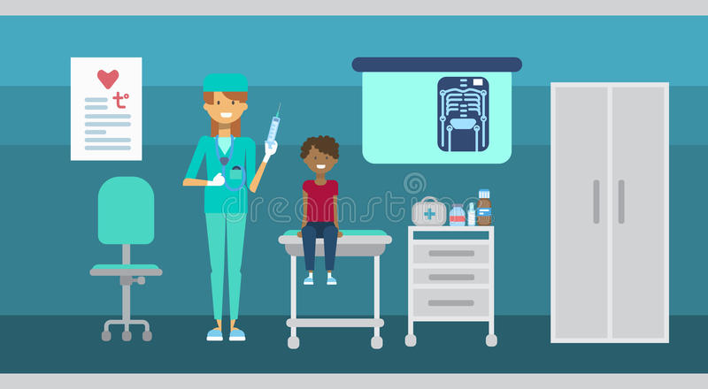 Bandera de la medicina del servicio del hospital de las clínicas de la atención sanitaria de la consulta del doctor Examining Pat stock de ilustración