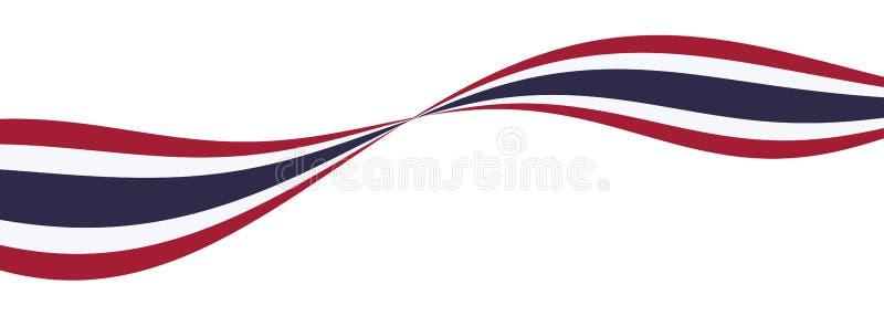 Bandera de la nación de Tailandia curva roja, cinta blanca, azul libre illustration