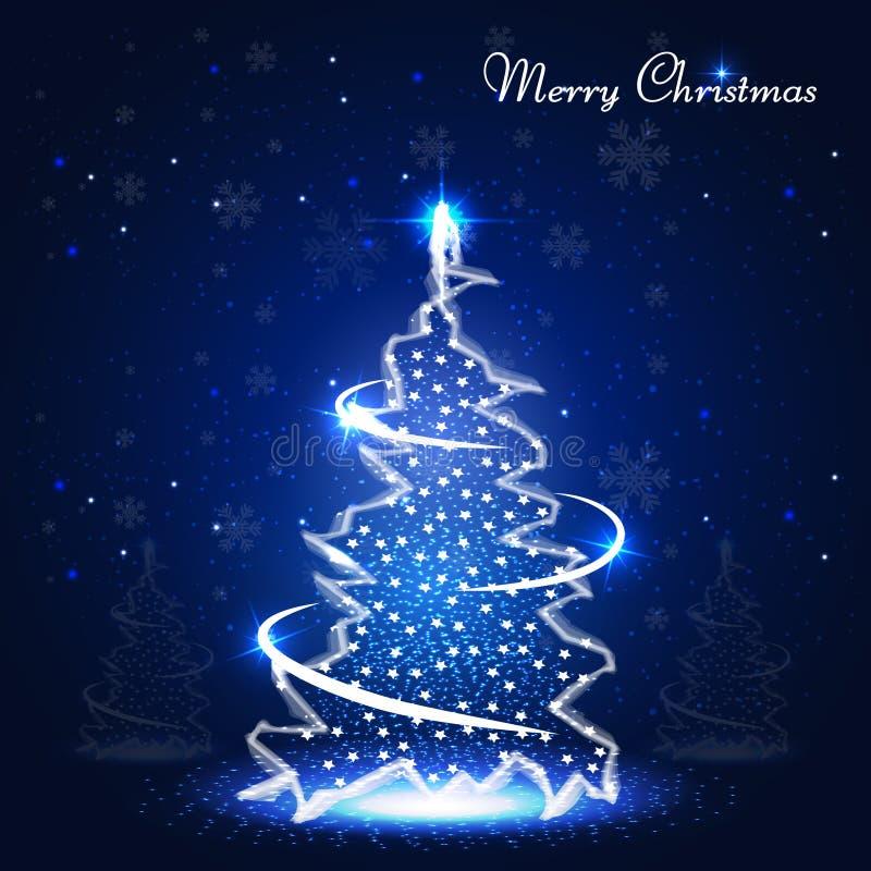 Bandera de la Navidad con el árbol brillante de neón de Navidad libre illustration
