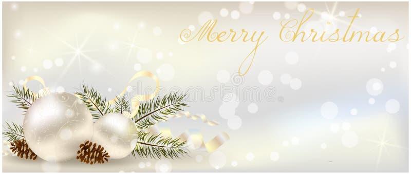 Bandera de la Navidad con la decoración ilustración del vector
