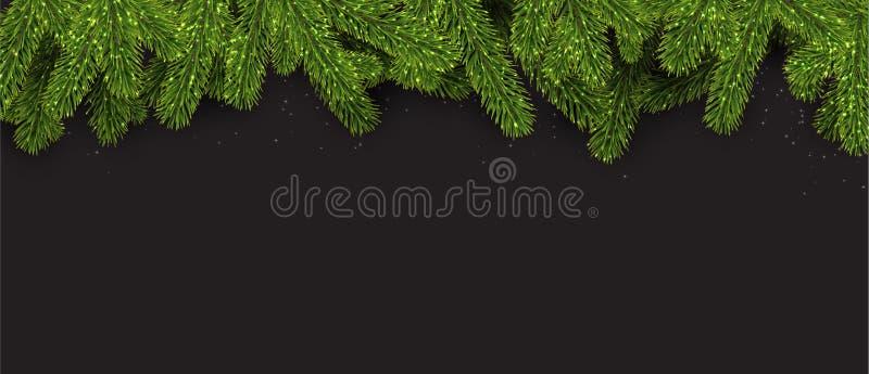 Bandera de la Navidad con las ramas spruce stock de ilustración