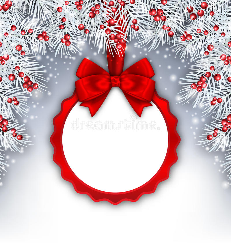Bandera de la Navidad con las ramitas y la tarjeta del abeto de plata libre illustration