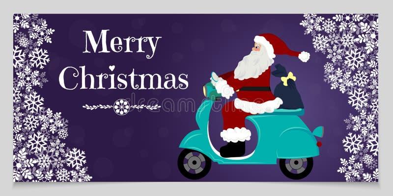 Bandera de la Navidad con los copos de nieve blancos, espacio para el texto y Papá Noel, que conducen la motocicleta que entrega  ilustración del vector