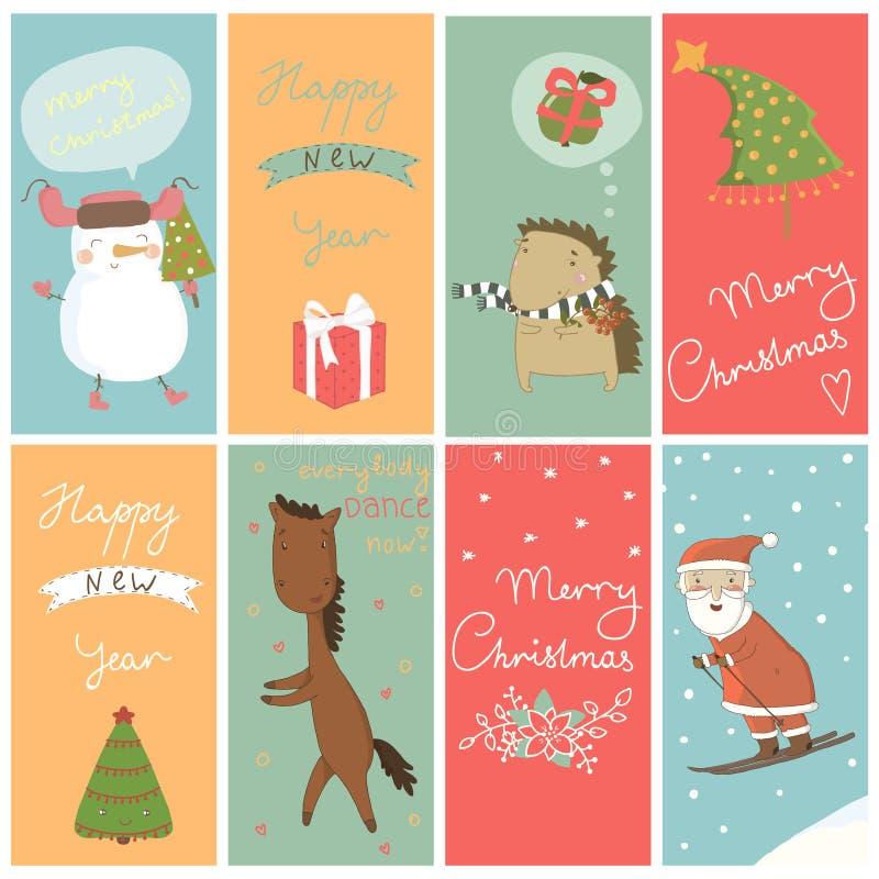 Bandera de la Navidad 8 con los personajes de dibujos animados libre illustration
