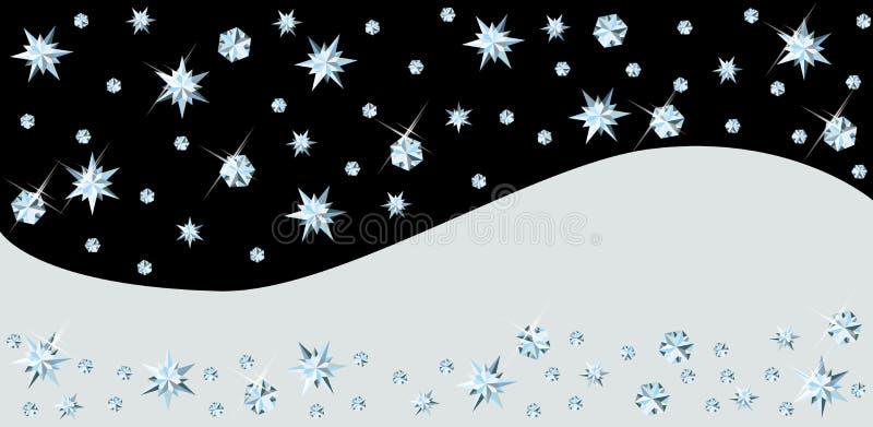 Bandera de la Navidad con nieve del diamante ilustración del vector