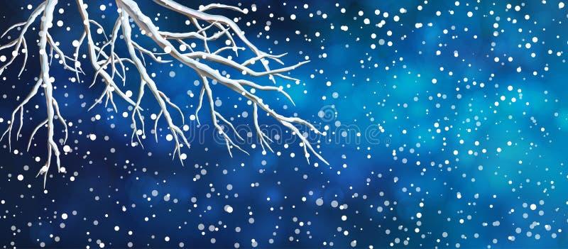 Bandera de la Navidad de las ramas de árbol del cielo ilustración del vector