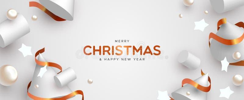 Bandera de la Navidad de la decoración blanca y del oro de 3d stock de ilustración