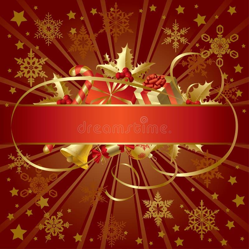 Bandera de la Navidad del oro ilustración del vector